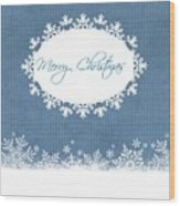 Merry Christmas In Blue Wood Print