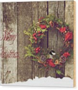 Merry Christmas. Wood Print by Kelly Nelson