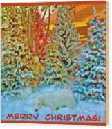 Merry Christmas Polar Bears Wood Print
