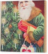 Merry Christmas Santa Delivers Gifts Vintage Card Wood Print