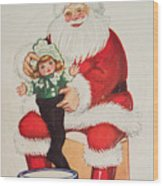 Merry Christmas Santa Pulls Doll From His Sack Vintage Card Wood Print