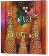 Merry Christmas Trees Colorful Wood Print