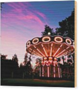 Merry - Go - Round At Sunset Wood Print