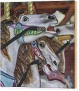 Merry Go Round Horses Wood Print