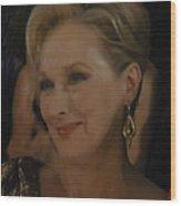 Meryl Streep Receiving The Oscar As Margaret Thatcher  Wood Print
