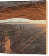 Mesa Arch Sunrise 4 - Canyonlands National Park - Moab Utah Wood Print