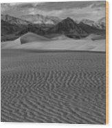 Mesquite Dunes Black And White Wood Print