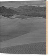 Mesquite Sand Dunes Black And White Panorama Wood Print
