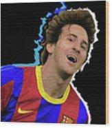 Messi 3498 By Nicholas Nixo Efthimiou Wood Print