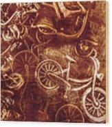Messy Bike Workshop Wood Print