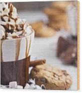 Messy Hot Chocolate, Cream And Marshmallows And A Choc-chip Cook Wood Print