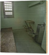 Metal Bed Inside Solitary Confinement Cell Wood Print