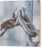 Metal Chain Railing Fragment Wood Print
