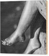 Metal Legs Black And White Wood Print