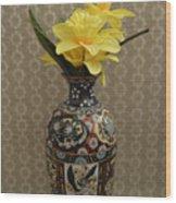 Metal Vase With Flowers Wood Print