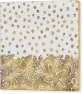 Metallic Gold Floral Flower Swirls Trendy Unique Art By Madart Wood Print
