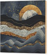 Metallic Mountains Wood Print
