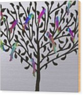 Metallic Parrot Tree Wood Print