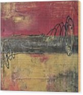 Metallic Square Series I - Red And Gold Urban Abstract Painting Wood Print