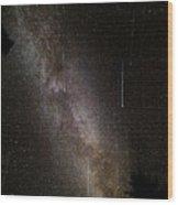Meteor Burst Across The Milky Way Wood Print