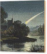 Meteor In Night Sky, 1868 Wood Print