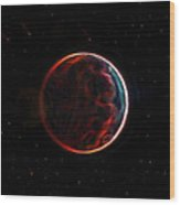 Meteor Shower Over Planet X Wood Print