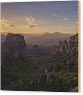 Meteora Sunset Wood Print
