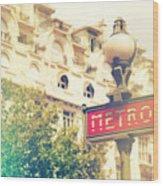 Metro Sign Paris Shabby Chic Wood Print