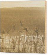 Metzgers Marsh In Fog Wood Print
