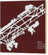 Mex Benito Juarez International Airport Silhouette In Red Wood Print