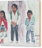 Mexican Church People Wood Print