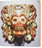 Mexican Day Of The Dead Mask Wood Print
