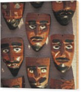 Mexican Devil Masks Wood Print