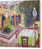 Mexican Garden Restaurant Wood Print