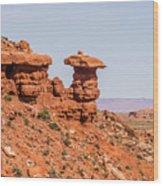 Mexican Hat Rock Monument Landscape On Sunny Day Wood Print