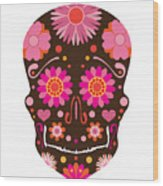 Mexican Skull Art Illustration Wood Print