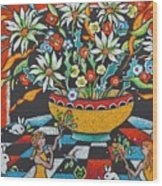 Mexican Vase With Spring Flowers Wood Print