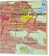 Mexico City Map. Wood Print