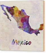 Mexico In Watercolor Wood Print