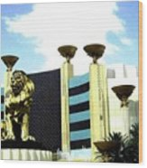 Mgm Lion In Las Vegas Wood Print