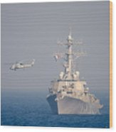 Mh-60r Sea Hawk Helicopter Flies Wood Print