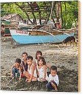 Mia-gao Fishing Children 1 Wood Print