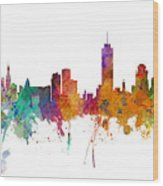 Miami And Nashville Skylines Mashup Wood Print
