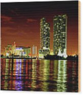 Miami At Night -1 Wood Print