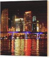 Miami At Night -2 Wood Print