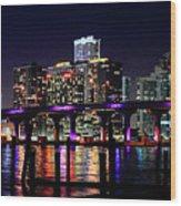 Miami At Night -3 Wood Print