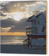 Miami Beach Life Guard House Sunrise 2 Wood Print