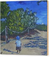 Miami Beach Path And Child Wood Print