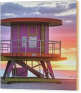 Miami Beach Round Life Guard House Sunrise Wood Print