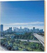 Miami Florida City Skyline And Streets Wood Print